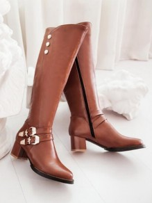 Brown Round Toe Chunky Rivet Fashion Knee-High Boots
