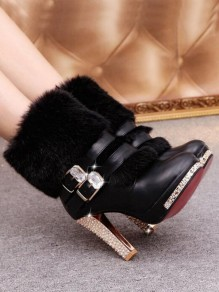 Black Round Toe Chunky Rhinestone Double Buckle Fashion Ankle Boots