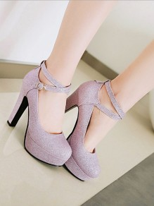 d3a0ae36151 Purple Round Toe Sequin Chunky High-Heeled Shoes