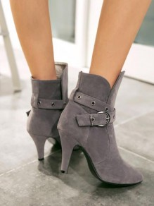 Grey Point Toe Chunky Sequin Fashion Ankle Boots