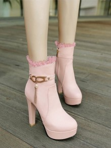 Pink Round Toe Pearl Belt Buckle Tassel Zipper Chunky Fashion Boots