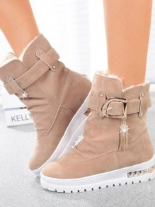 Apricot Round Toe Sequin Rhinestone Fashion Ankle Boots