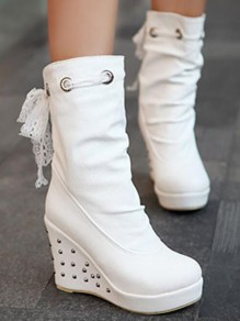 White Round Toe Wedges Sequin Fashion Mid-Calf Boots