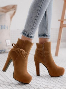 Brown Round Toe Chunky Bow Fashion Ankle Boots
