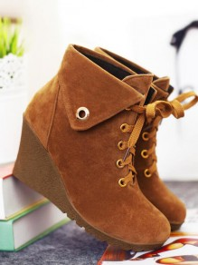 Khaki Round Toe Wedges Metal Decoration Cross Strap Fashion Ankle Boots