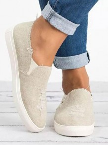 Beige Round Toe Flat Fashion Ankle Shoes