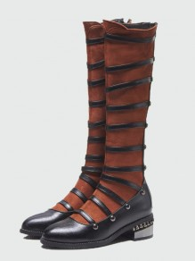 Brown Round Toe Rivet Fashion Knee-High Boots