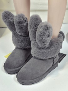 Grey Round Toe Flat Faux Fur Fashion Ankle Boots
