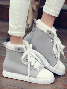 Grey Round Toe Flat Cross Strap Fashion Shoes
