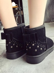 Black Round Toe Flat Bow Fashion Ankle Boots