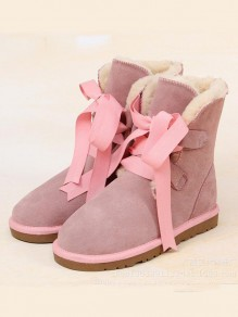 Pink Round Toe Fashion Ankle Boots