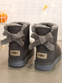 Grey Round Toe Bow Flat Casual Boots
