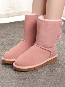 Pink Round Toe Flat Bow Fashion Ankle Boots