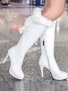 White Round Toe Stiletto Lace Faux Fur Patchwork Fashion Knee-High Boots