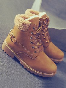 Tan Round Toe Chunky Rivet Faux Cashmere Fur Fashion Snow Combat Ankle Boots
