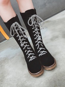 Black Round Toe Flat Fashion Knee-High Boots