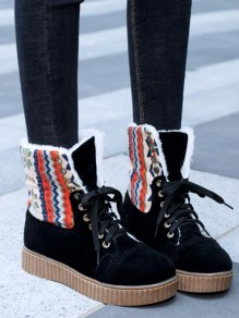 Black Round Toe Print Fashion Ankle Boots