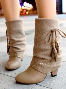 Apricot Round Toe Chunky Fashion Mid-Calf Boots