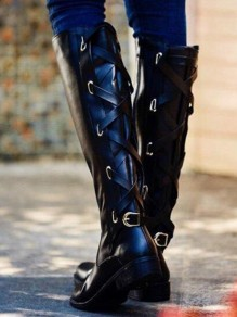 Black Round Toe Chunky Cross Strap Metal Decoration Fashion Knee-High Boots