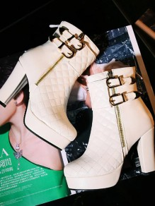 White Round Toe Chunky Sequin Zipper Fashion Ankle Boots