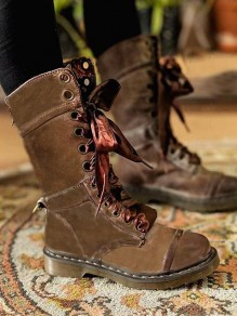 Brown Round Toe Chunky Chain Fashion Mid-Calf Boots
