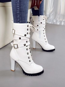White Round Toe Chunky Rivet Buckle Fashion Mid-Calf Boots