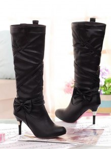 Black Round Toe Stiletto Bow Fashion Knee-High Boots