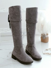 Grey Round Toe Chunky Lace Cross Strap Fashion Over-The-Knee Boots