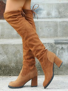 Brown Round Toe Chunky Suede Drawstring Fashion Over-The-Knee Boots
