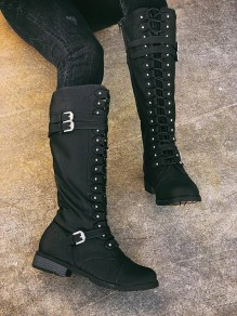 Black Round Toe Chunky Cross Strap Buckle Fashion Knee-High Boots