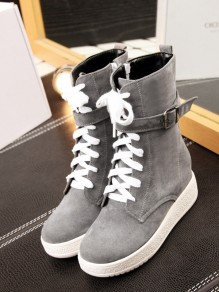 Grey Round Toe Flat Patchwork Buckle Fashion Ankle Boots