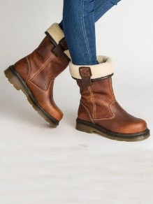 Brown Round Toe Flat Patchwork Fashion Ankle Boots