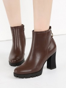 Brown Round Toe Chunky Sequin Casual Ankle Boots