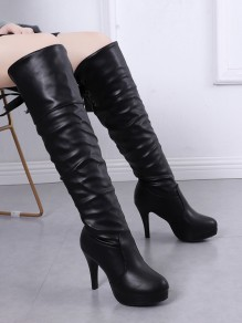 Black Round Toe Stiletto Bow Fashion Over-The-Knee Boots
