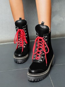 Black Round Toe Chunky Cross Strap Fashion Ankle Boots