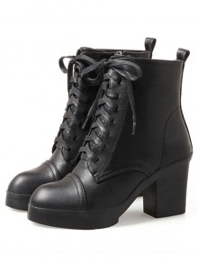 Black Round Toe Chunky Casual Heavy-Soled Ankle Boots