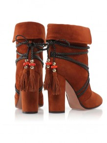 Brown Point Toe Chunky Cross Strap Tassel Fashion Ankle Boots