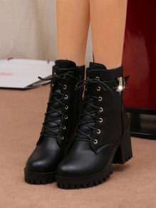 Black Round Toe Chunky Casual Rhinestone Ankle Boots
