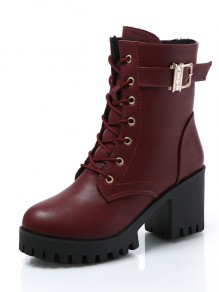 Red Round Toe Chunky Casual Rhinestone Ankle Boots