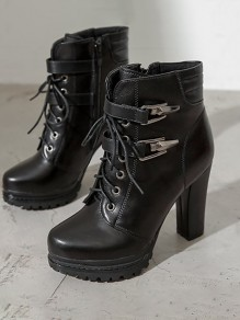 Black Round Toe Chunky Casual Sequin Ankle Boots