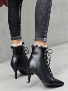 Black Point Toe Stiletto Fashion Ankle Boots