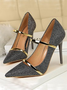 Grey Point Toe Stiletto Sequin Formal Fashion High-Heeled Shoes
