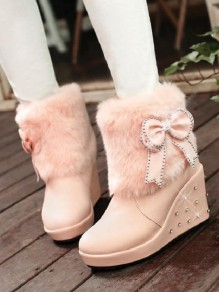Pink Round Toe Wedges Bow Rivet Fashion Ankle Boots