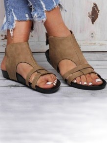 Apricot Round Toe Flat Casual Fashion Ankle Sandals