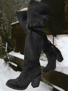 Black Round Toe Chunky Zipper Fashion Knee-High Boots