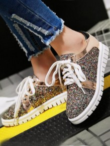 Golden Round Toe Flat Sequin Fashion Shoes