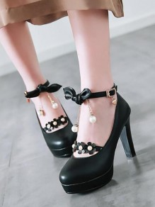 Black Round Toe Chunky Bow Pearl Sweet Fashion High-Heeled Shoes