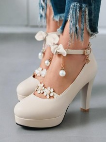 Beige Round Toe Chunky Bow Pearl Sweet Fashion High-Heeled Shoes