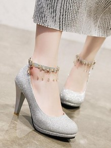 Silver Round Toe Chunky Sequin Rhinestone Fashion High-Heeled Shoes