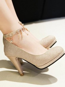 Golden Round Toe Chunky Sequin Rhinestone Fashion High-Heeled Shoes